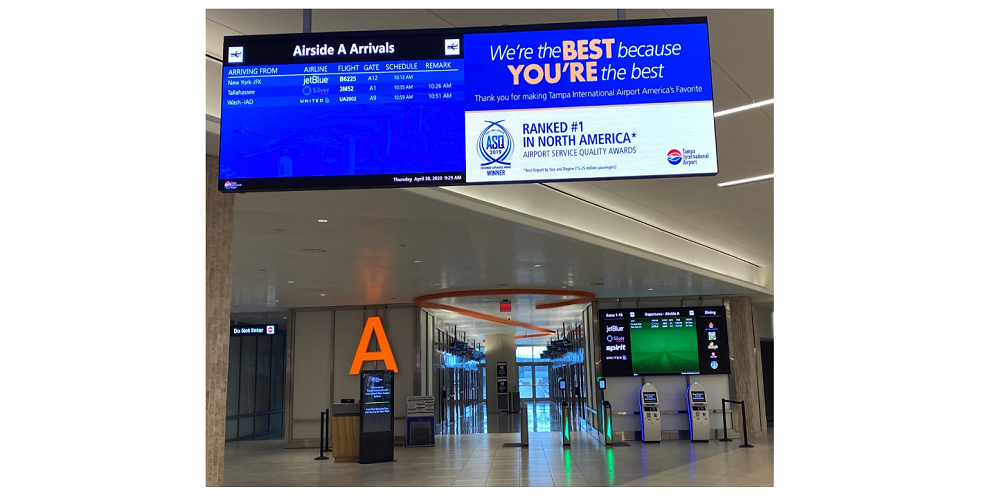 airport digital signage, RGB Spectrum Mediawall V